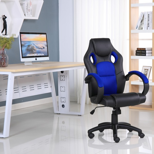 executive computer chair. executive leather gaming sports racing office computer chair blue i