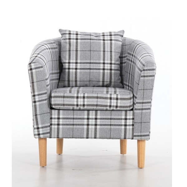 deluxe tartan fabric tub chair armchair grey