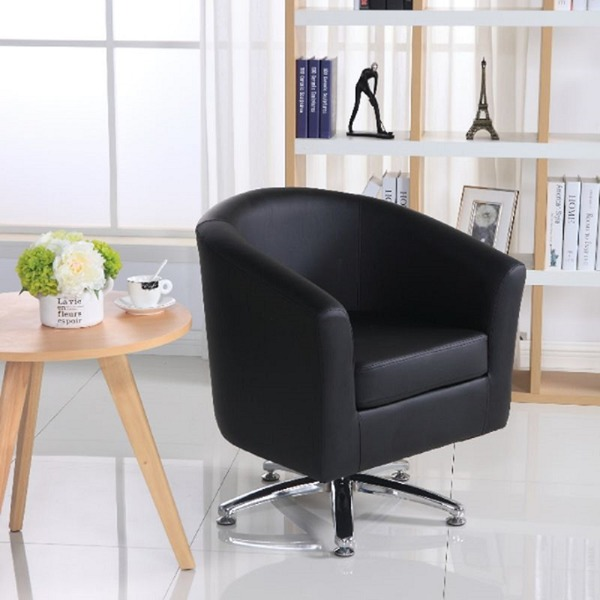 Camden Leather Swivel Tub Chair Armchair Black & Leather Tub Chairs · Chairs Warehouse