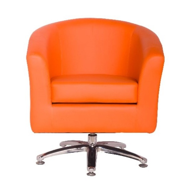 Camden Leather Swivel Tub Chair Armchair Orange