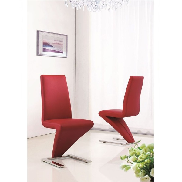 Set Of 2 Deluxe Modern Designer Leather Chrome Z Dining Room Chairs Red