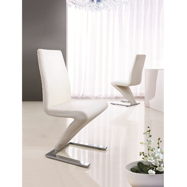 Set Of 2 Deluxe Modern Designer Leather Chrome Z Dining Room Chairs White