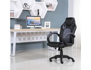 Executive Leather Gaming Sports Racing Office Computer Chair Grey