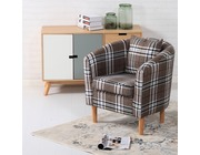Edinburgh Tartan Fabric Tub Chair Armchair Brown