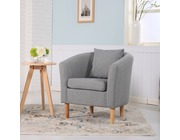 York Fabric Tub Chair Armchair Light Grey