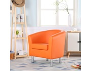 Camden Leather Tub Chair Armchair Orange