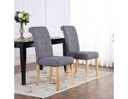 Set of 2 Kensington Fabric Dining Chairs Scroll High Back Dark Grey