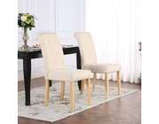 Set of 2 Kensington Fabric Dining Chairs Scroll High Back Cream