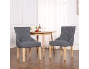 Set of 2 Buckingham Fabric Scoop Button Back Dining Chairs Dark Grey