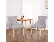 Set of 2 Buckingham Fabric Scoop Button Back Dining Chairs Light Grey