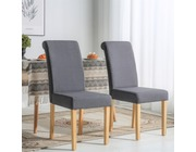 Set of 2 Chelsea Fabric Dining Chairs Scroll High Back Dark Grey