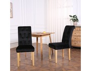 Set of 2 Canterbury Velvet Fabric Dining Chairs Scroll High Back Black