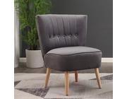Chester Velvet Fabric Accent Tub Chair Armchair Dark Grey