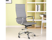 Eames Style High Back Ribbed Executive Computer Office Chair Grey