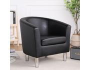 Camden Leather Tub Chair Armchair Black