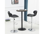 Set Of 2 Shoreditch Leather Bar Stools Height Adjustable Black