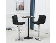 Set Of 2 Windsor Leather Bar Stools Height Adjustable Black