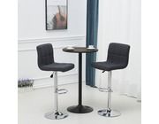 Set Of 2 Windsor Fabric Bar Stools Height Adjustable Dark Grey