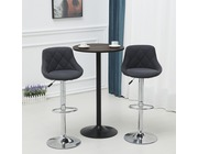 Set Of 2 Mayfair Fabric Bar Stools Height Adjustable Dark Grey