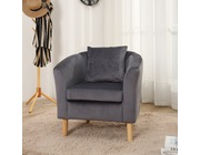 Canterbury Velvet Fabric Tub Chair Armchair Dark Grey
