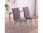 Set of 2 Oslo Fabric Linen Dining Chairs Dark Grey