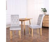 Set of 2 Canterbury Velvet Fabric Dining Chairs Scroll High Back Light Grey