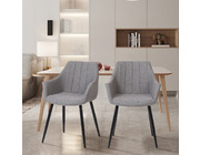 Set of 2 Toronto Fabric Dining Chairs Light Grey