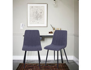 Set of 2 Dublin Fabric Dining Chairs Dark Grey
