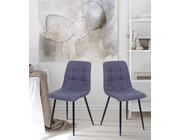 Set of 2 Vienna Fabric Dining Chairs Dark Grey