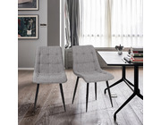 Set of 2 Lisbon Fabric Dining Chairs Light Grey
