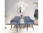 Set of 2 Toronto Fabric Dining Chairs Dark Grey