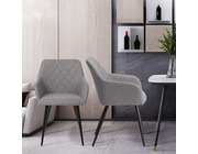 Set of 2 Havana Fabric Dining Chairs Light Grey