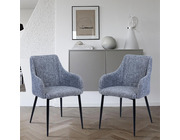 Set of 2 Berlin Fabric Dining Chairs Dark Grey