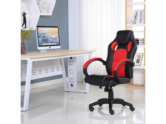 Executive Leather Gaming Sports Racing Office Computer Chair Red