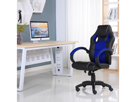 Executive Leather Gaming Sports Racing Office Computer Chair Blue