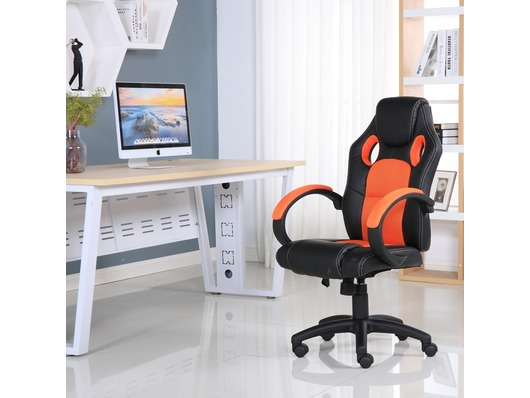 Executive Leather Gaming Sports Racing Office Computer Chair Orange