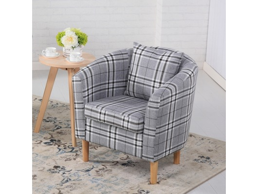 Edinburgh Tartan Fabric Tub Chair Armchair Grey