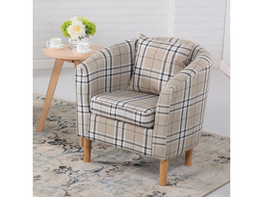 Edinburgh Tartan Fabric Tub Chair Armchair Cream