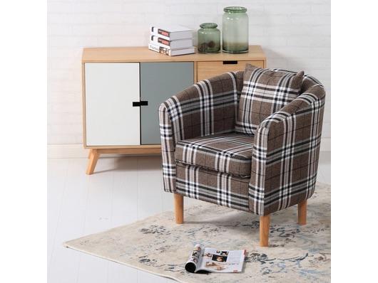 Edinburgh Tartan Fabric Tub Chair Armchair Brown