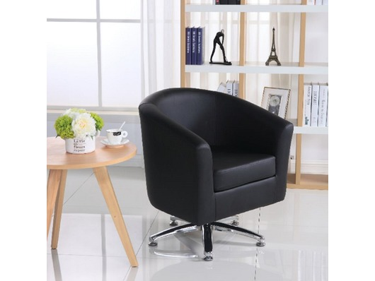 Camden Leather Swivel Tub Chair Armchair Black