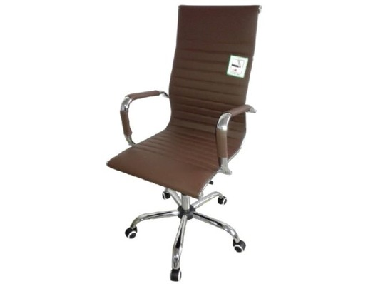 Eames Style High Back Ribbed Executive Computer Office Chair Brown