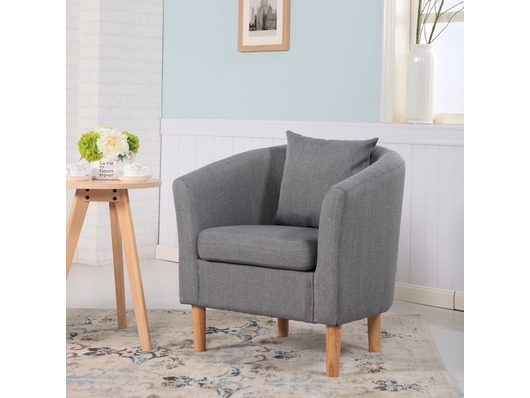 York Fabric Tub Chair Armchair Dark Grey