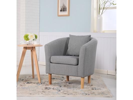 York Fabric Tub Chair Armchair Light Grey