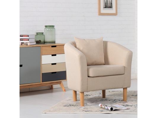 York Fabric Tub Chair Armchair Cream