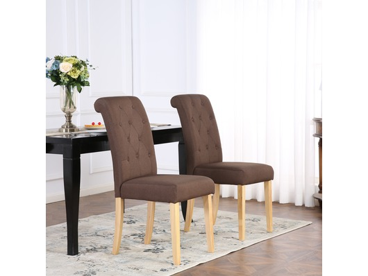 Set of 2 Kensington Fabric Dining Chairs Scroll High Back Brown