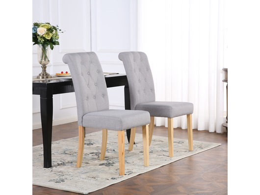 Set Of 2 Premium Linen Fabric Dining Chairs Scroll High Back Light Grey