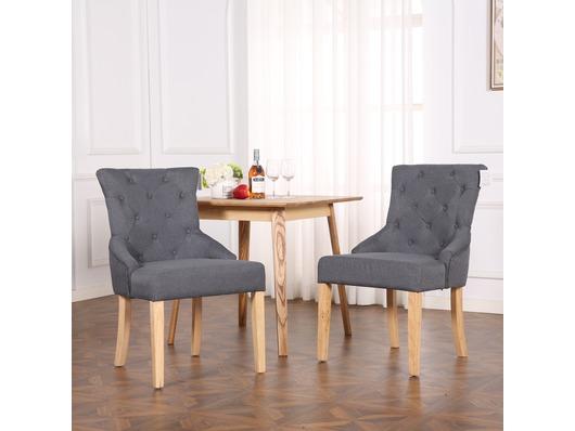 Set of 2 Buckingham Fabric Scoop Button Back Dining Chairs Dark Grey