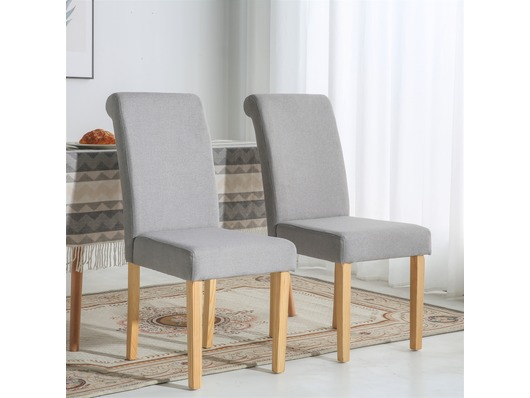 Set of 2 Chelsea Fabric Dining Chairs Scroll High Back Light Grey
