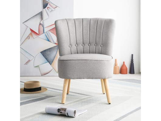 Chester Fabric Accent Tub Chair Armchair Light Grey
