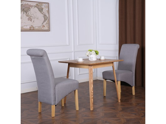 Set of 2 Cambridge Fabric Dining Chairs Scroll High Back Light Grey